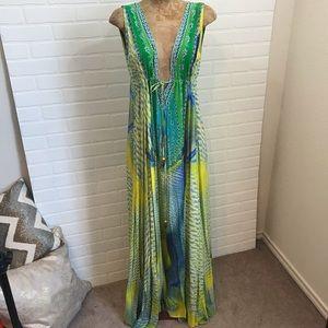 Camilla Maxi Deep V Swarovski Crystal 100% Silk